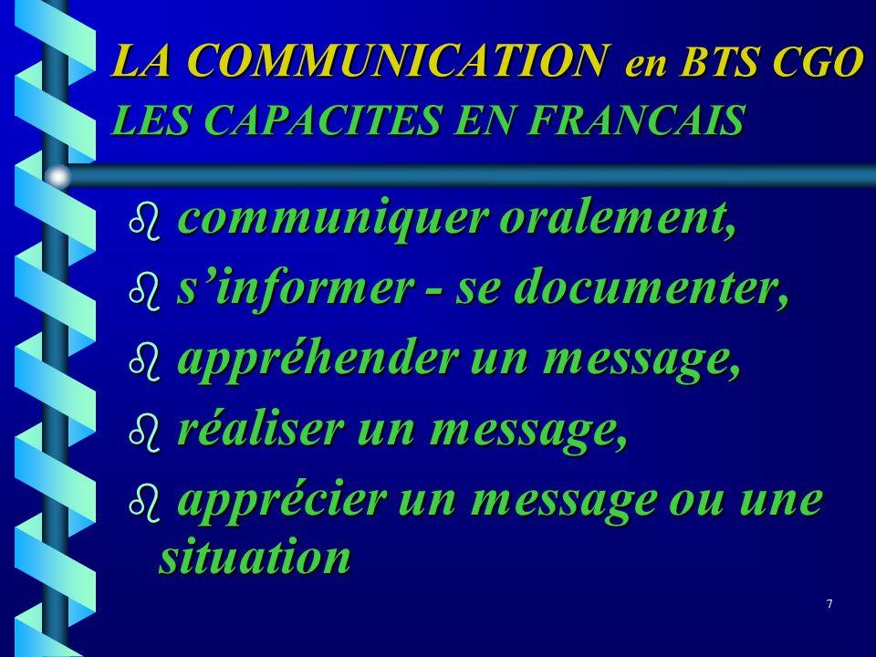 LA COMMUNICATION en BTS CGO LES CAPACITES EN FRANCAIS b communiquer oralement, b sinformer - se documenter, b appréhender un message, b réaliser un me