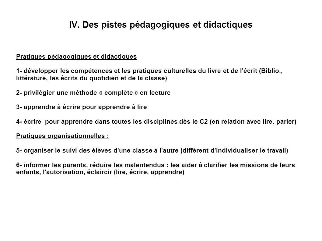 IV. Des pistes pédagogiques et didactiques Pratiques pédagogiques et didactiques 1- développer les compétences et les pratiques culturelles du livre e