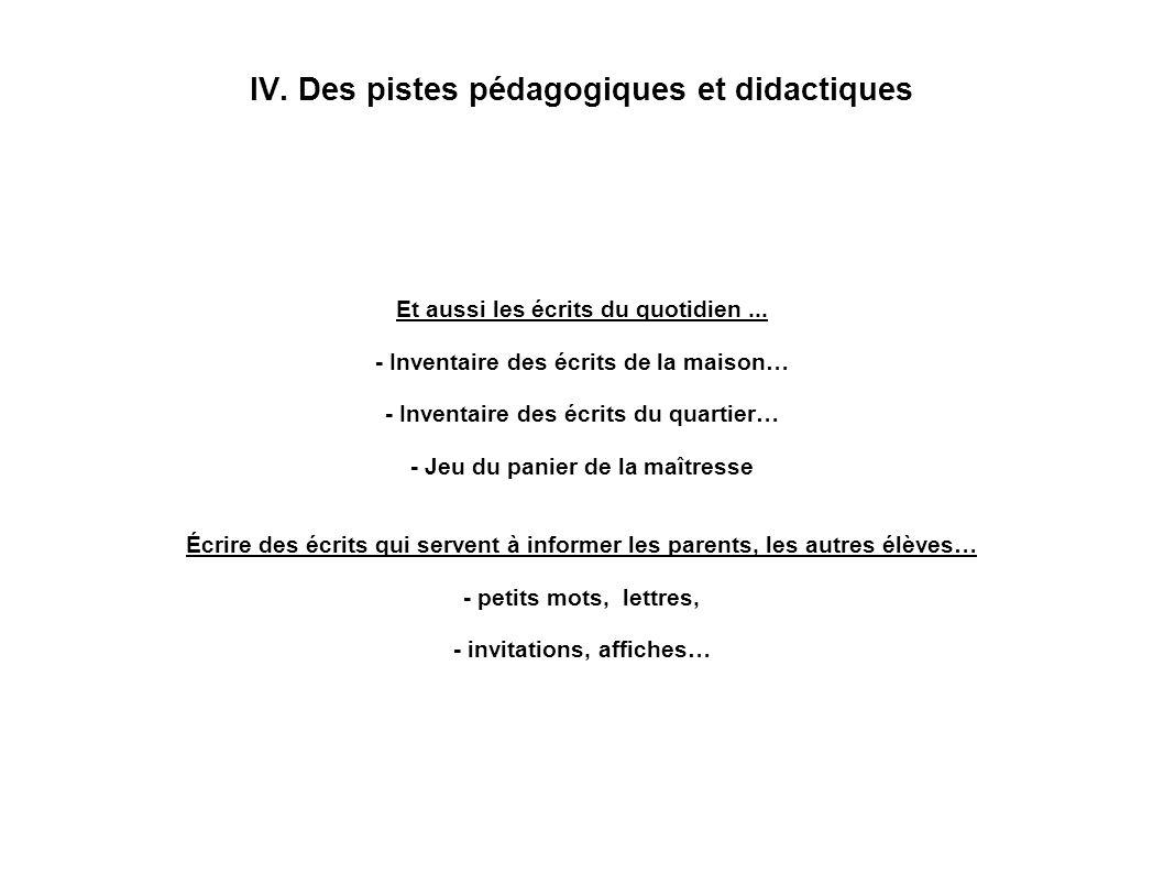 IV. Des pistes pédagogiques et didactiques Et aussi les écrits du quotidien... - Inventaire des écrits de la maison… - Inventaire des écrits du quarti