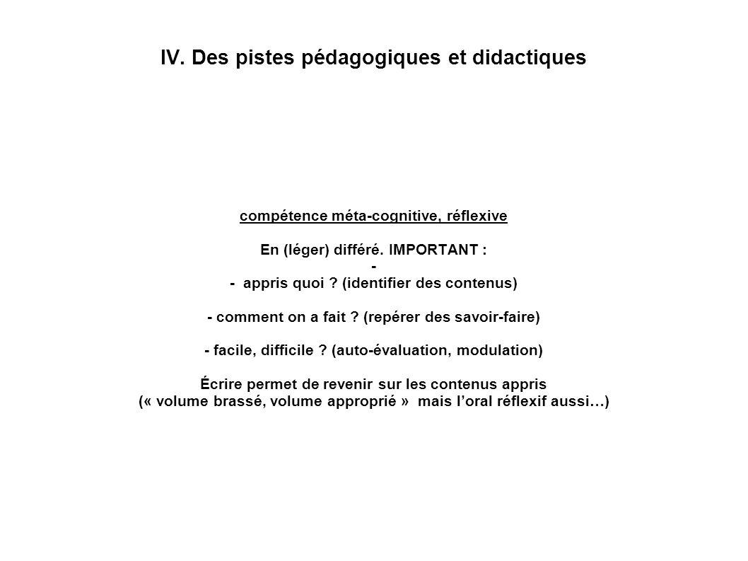 IV. Des pistes pédagogiques et didactiques compétence méta-cognitive, réflexive En (léger) différé. IMPORTANT : - - appris quoi ? (identifier des cont