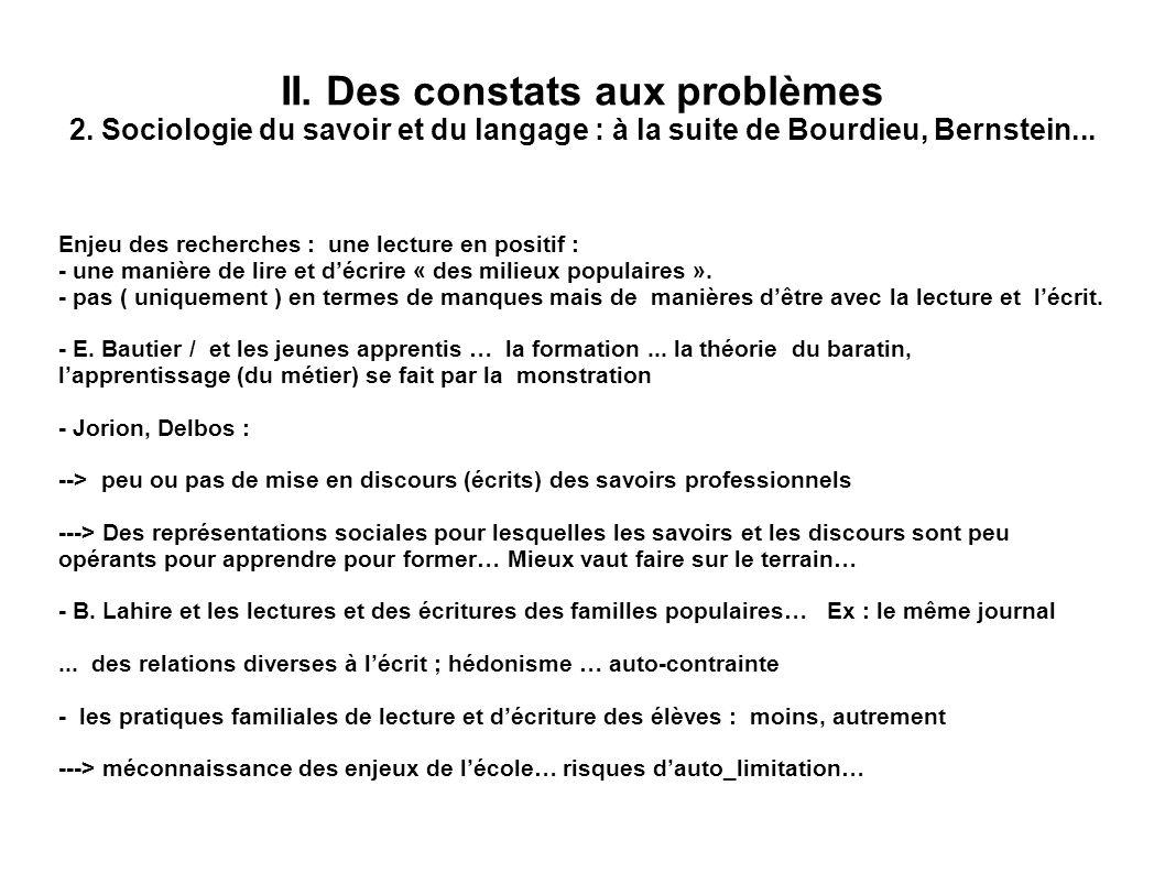 II. Des constats aux problèmes 2. Sociologie du savoir et du langage : à la suite de Bourdieu, Bernstein... Enjeu des recherches : une lecture en posi