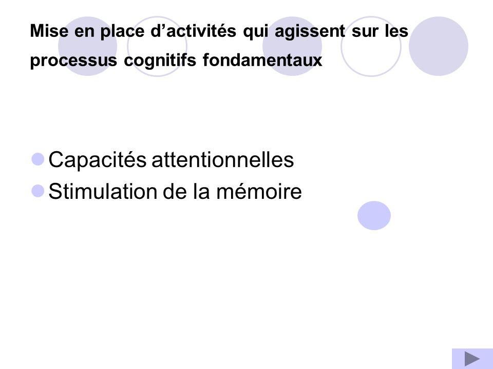 Mise en place dactivités qui agissent sur les processus cognitifs fondamentaux Capacités attentionnelles Stimulation de la mémoire