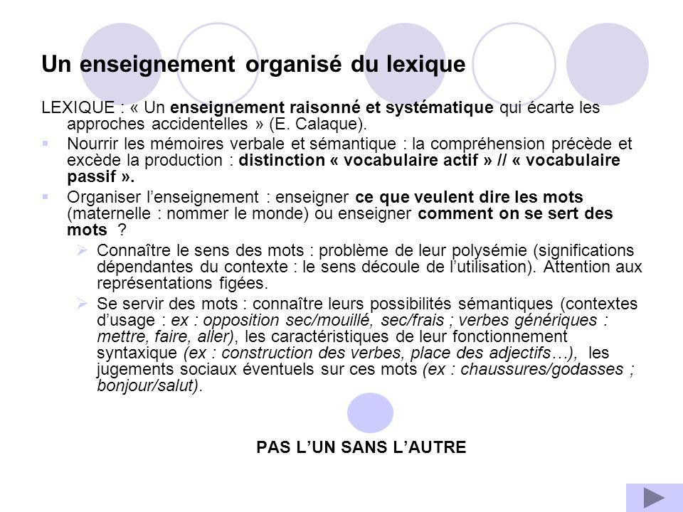 Un enseignement organisé du lexique LEXIQUE : « Un enseignement raisonné et systématique qui écarte les approches accidentelles » (E. Calaque). Nourri