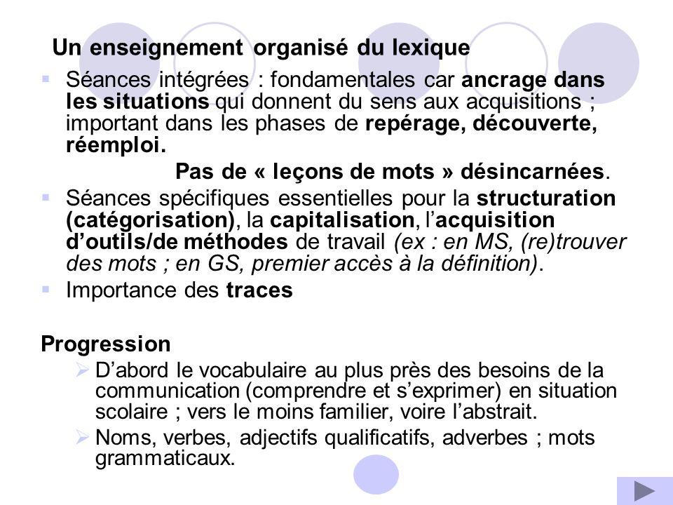 Un enseignement organisé du lexique Séances intégrées : fondamentales car ancrage dans les situations qui donnent du sens aux acquisitions ; important