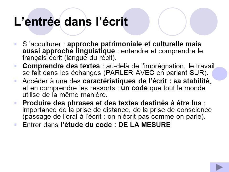 Lentrée dans lécrit S acculturer : approche patrimoniale et culturelle mais aussi approche linguistique : entendre et comprendre le français écrit (langue du récit).