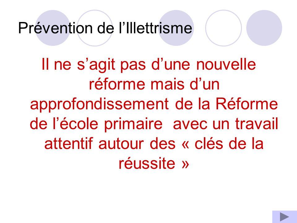 Prévention de lIllettrisme Il ne sagit pas dune nouvelle réforme mais dun approfondissement de la Réforme de lécole primaire avec un travail attentif autour des « clés de la réussite »