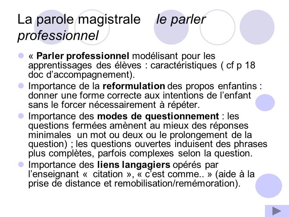 La parole magistrale le parler professionnel « Parler professionnel modélisant pour les apprentissages des élèves : caractéristiques ( cf p 18 doc daccompagnement).