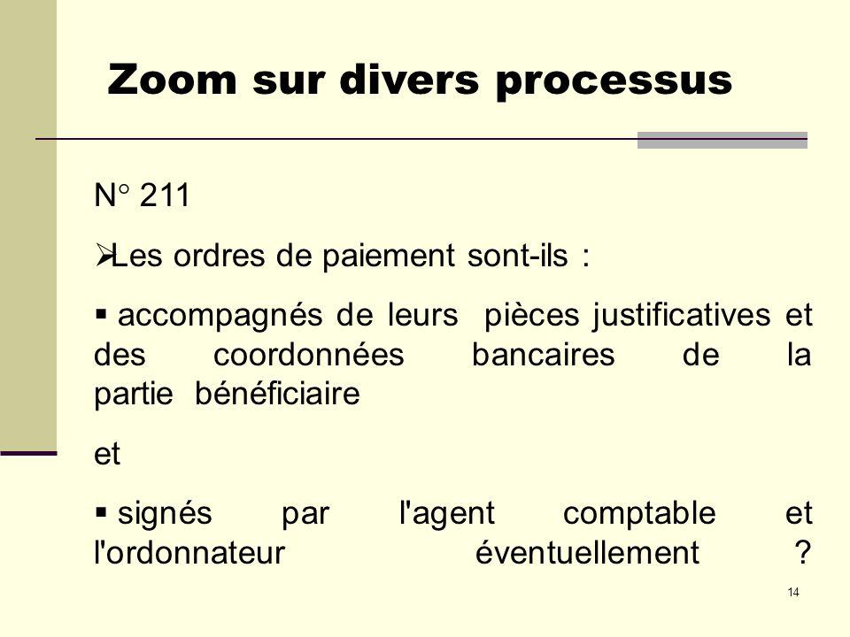 14 N° 211 Les ordres de paiement sont-ils : accompagnés de leurs pièces justificatives et des coordonnées bancaires de la partie bénéficiaire et signé