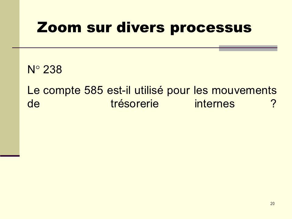 20 N° 238 Le compte 585 est-il utilisé pour les mouvements de trésorerie internes ? Zoom sur divers processus