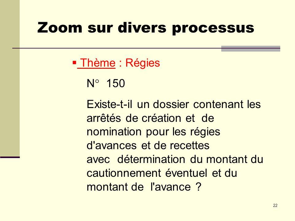 22 Thème : Régies N° 150 Existe-t-il un dossier contenant les arrêtés de création et de nomination pour les régies d'avances et de recettes avec déter