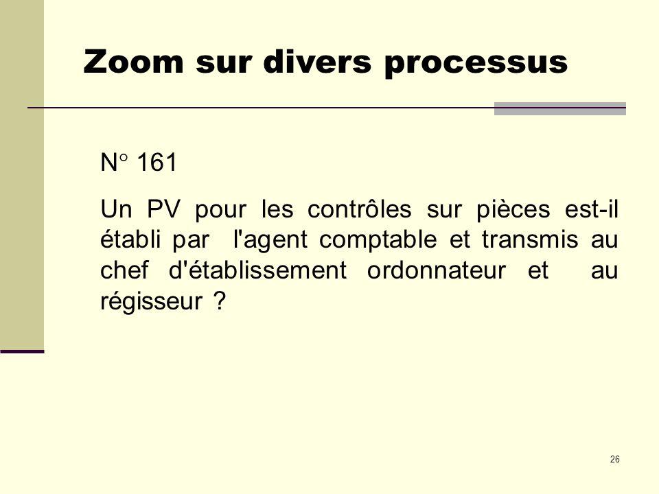 26 N° 161 Un PV pour les contrôles sur pièces est-il établi par l'agent comptable et transmis au chef d'établissement ordonnateur et au régisseur ? Zo