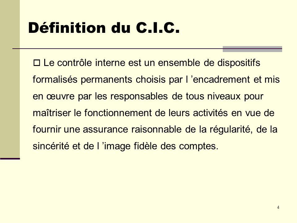 4 Définition du C.I.C. Le contrôle interne est un ensemble de dispositifs formalisés permanents choisis par l encadrement et mis en œuvre par les resp