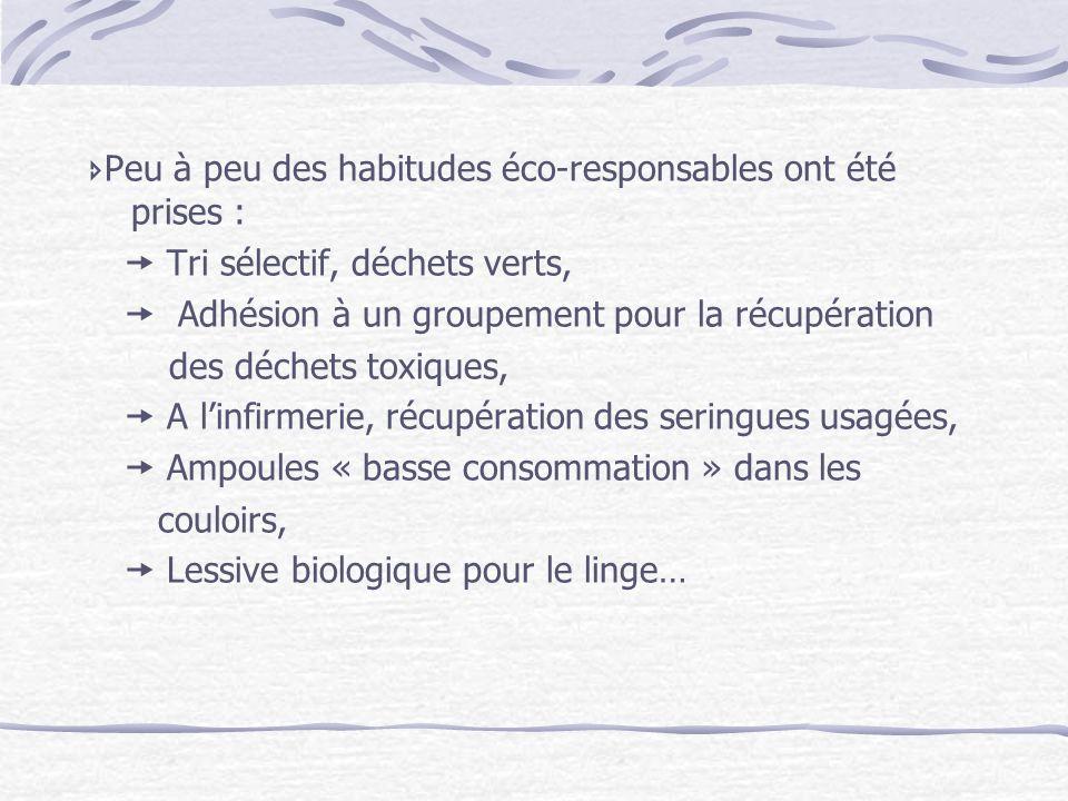 Peu à peu des habitudes éco-responsables ont été prises : Tri sélectif, déchets verts, Adhésion à un groupement pour la récupération des déchets toxiq