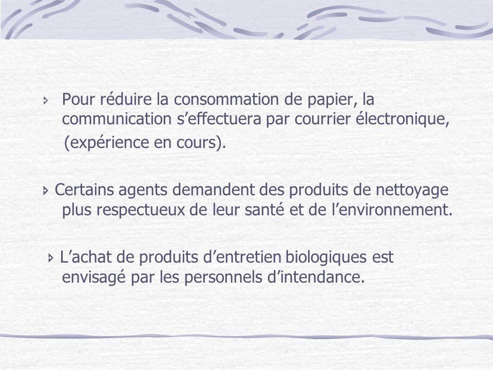 Pour réduire la consommation de papier, la communication seffectuera par courrier électronique, (expérience en cours). Certains agents demandent des p