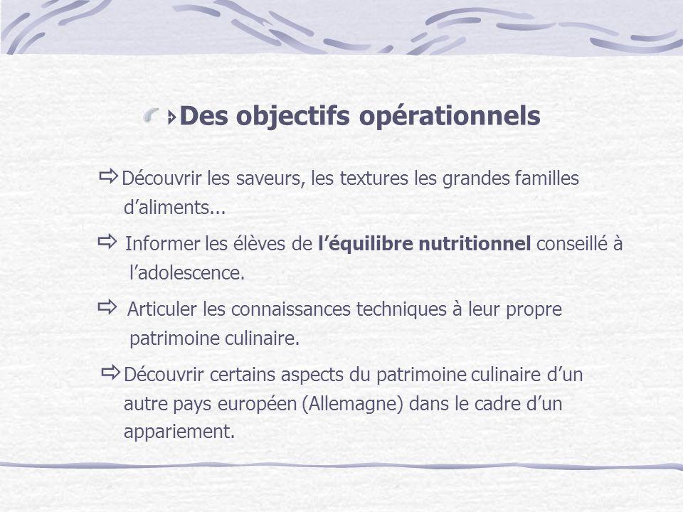 Des objectifs opérationnels Découvrir les saveurs, les textures les grandes familles daliments... Informer les élèves de léquilibre nutritionnel conse