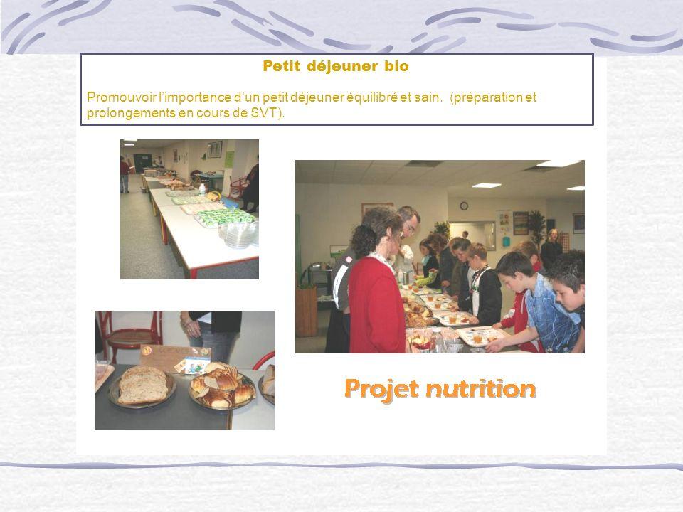 Petit déjeuner bio Promouvoir limportance dun petit déjeuner équilibré et sain. (préparation et prolongements en cours de SVT).