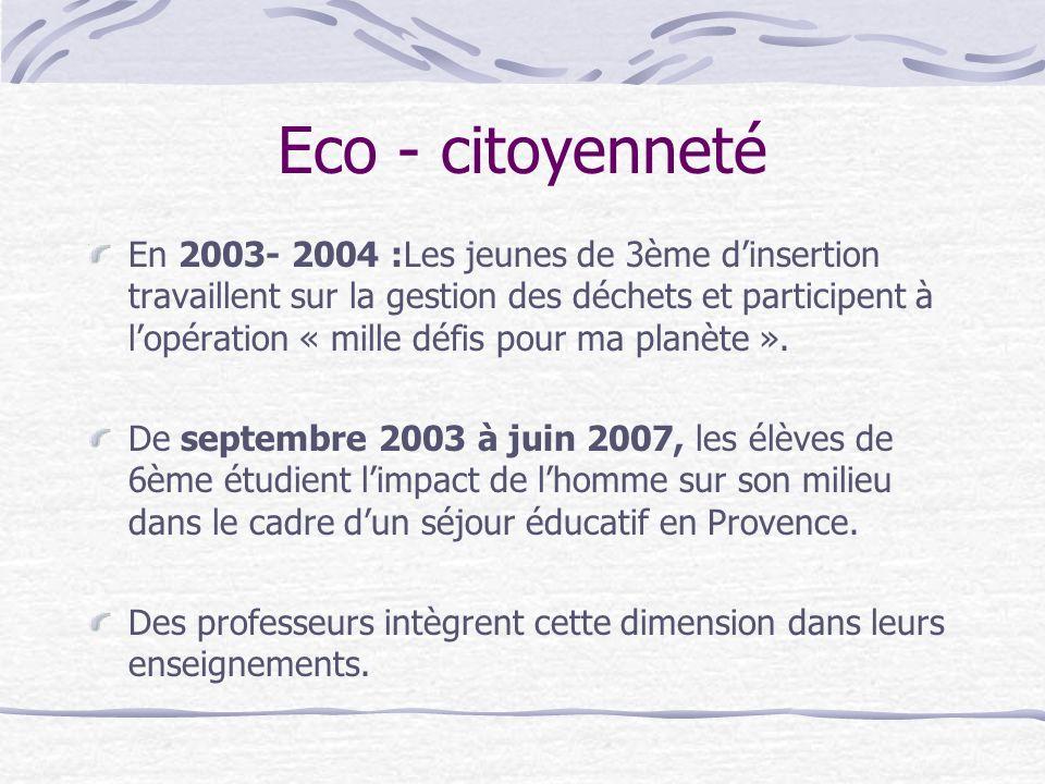 Eco - citoyenneté En 2003- 2004 :Les jeunes de 3ème dinsertion travaillent sur la gestion des déchets et participent à lopération « mille défis pour m