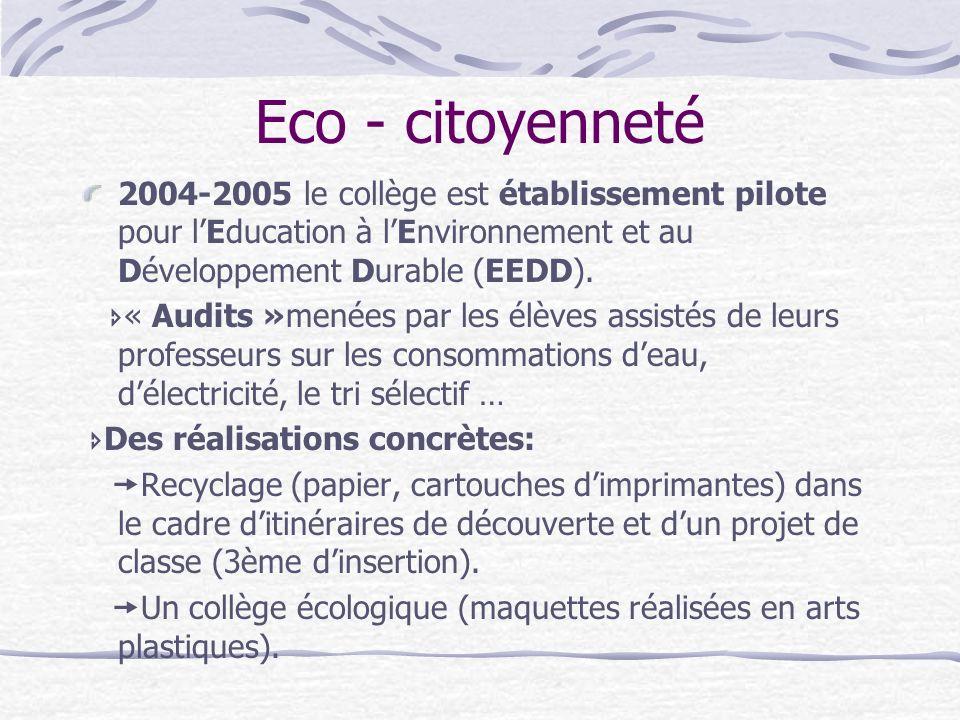 Eco - citoyenneté 2004-2005 le collège est établissement pilote pour lEducation à lEnvironnement et au Développement Durable (EEDD). « Audits »menées