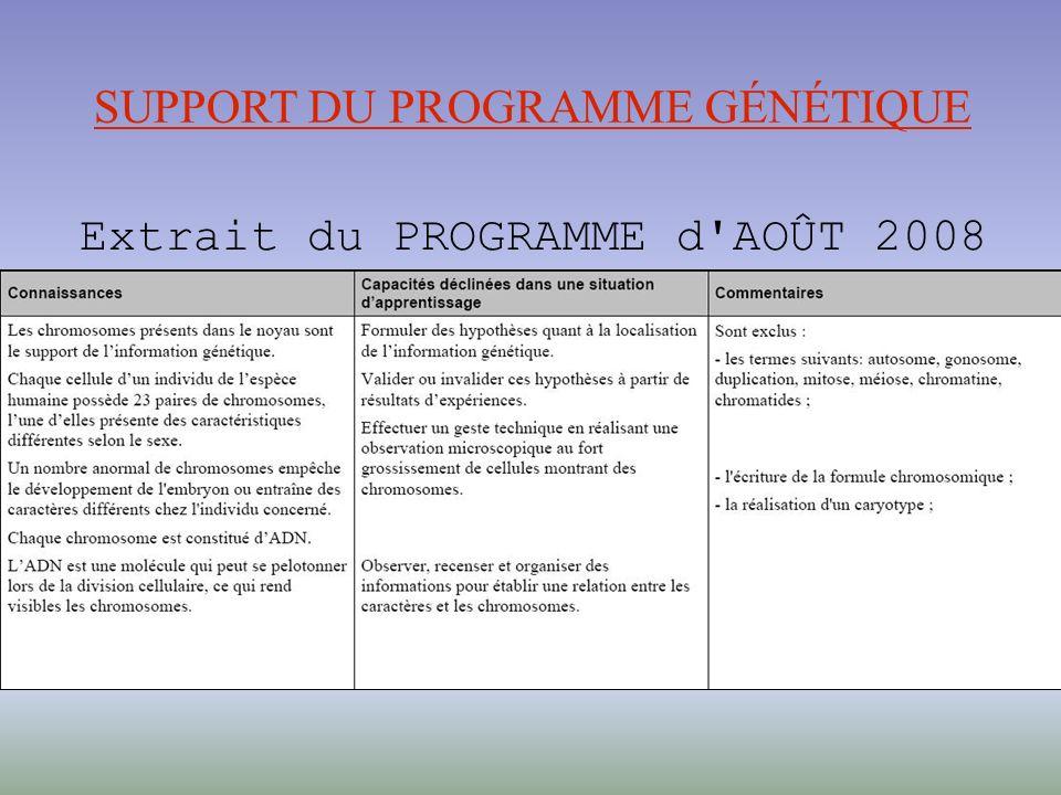 SUPPORT DU PROGRAMME GÉNÉTIQUE Extrait du PROGRAMME d AOÛT 2008