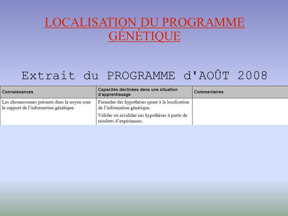 LOCALISATION DU PROGRAMME GÉNÉTIQUE Extrait du PROGRAMME d AOÛT 2008