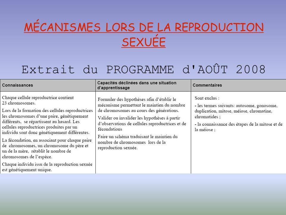 MÉCANISMES LORS DE LA REPRODUCTION SEXUÉE Extrait du PROGRAMME d AOÛT 2008