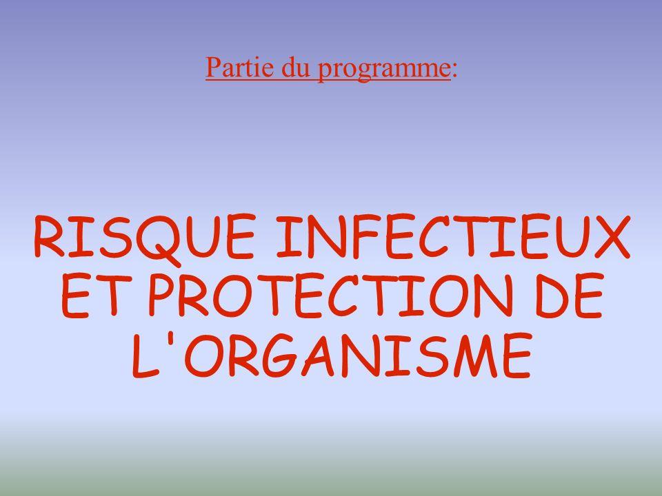 Partie du programme: RISQUE INFECTIEUX ET PROTECTION DE L ORGANISME