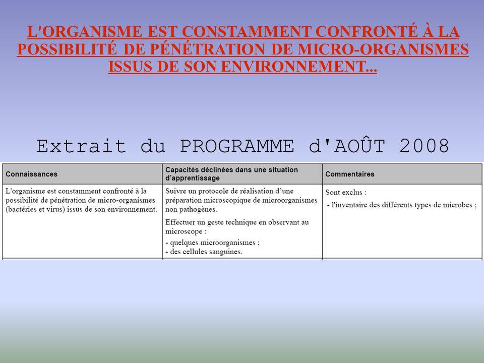 L ORGANISME EST CONSTAMMENT CONFRONTÉ À LA POSSIBILITÉ DE PÉNÉTRATION DE MICRO-ORGANISMES ISSUS DE SON ENVIRONNEMENT...