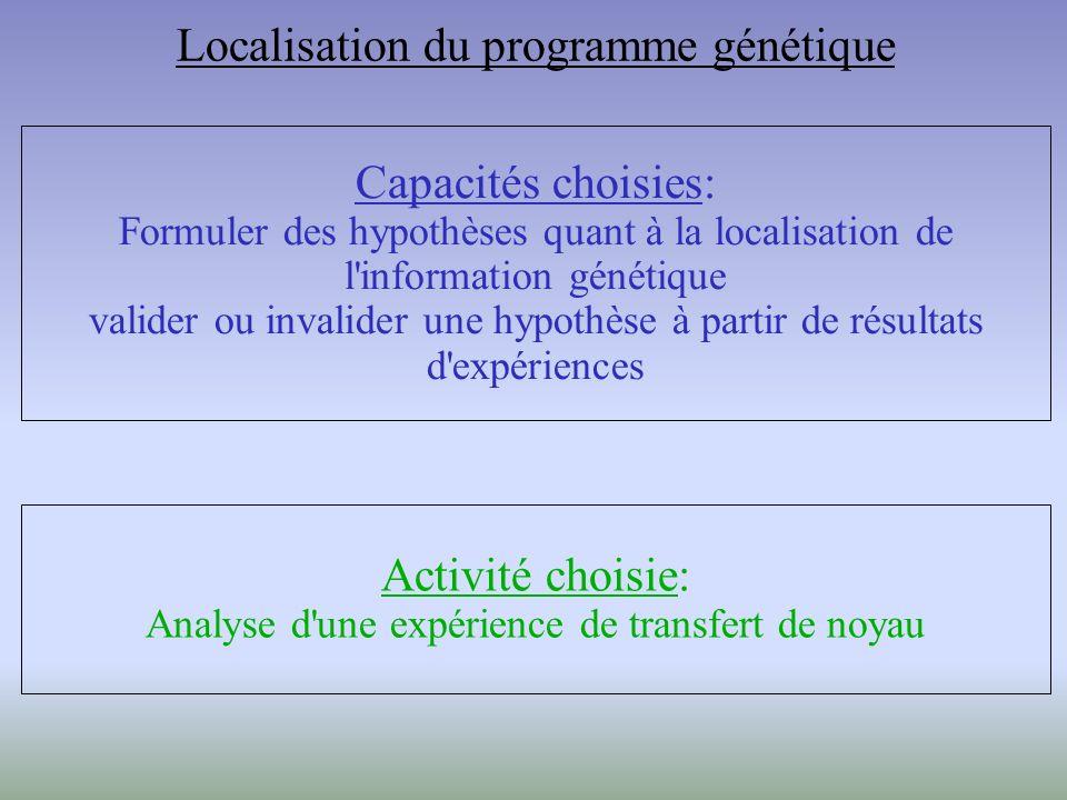 Capacités choisies: Formuler des hypothèses quant à la localisation de l information génétique valider ou invalider une hypothèse à partir de résultats d expériences Activité choisie: Analyse d une expérience de transfert de noyau Localisation du programme génétique