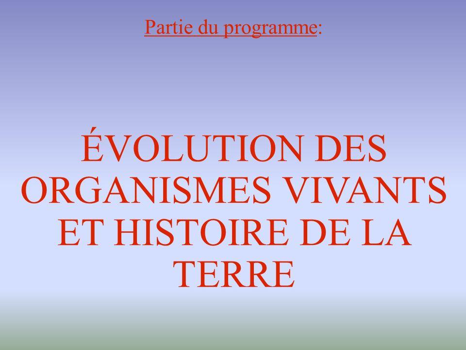 Partie du programme: ÉVOLUTION DES ORGANISMES VIVANTS ET HISTOIRE DE LA TERRE