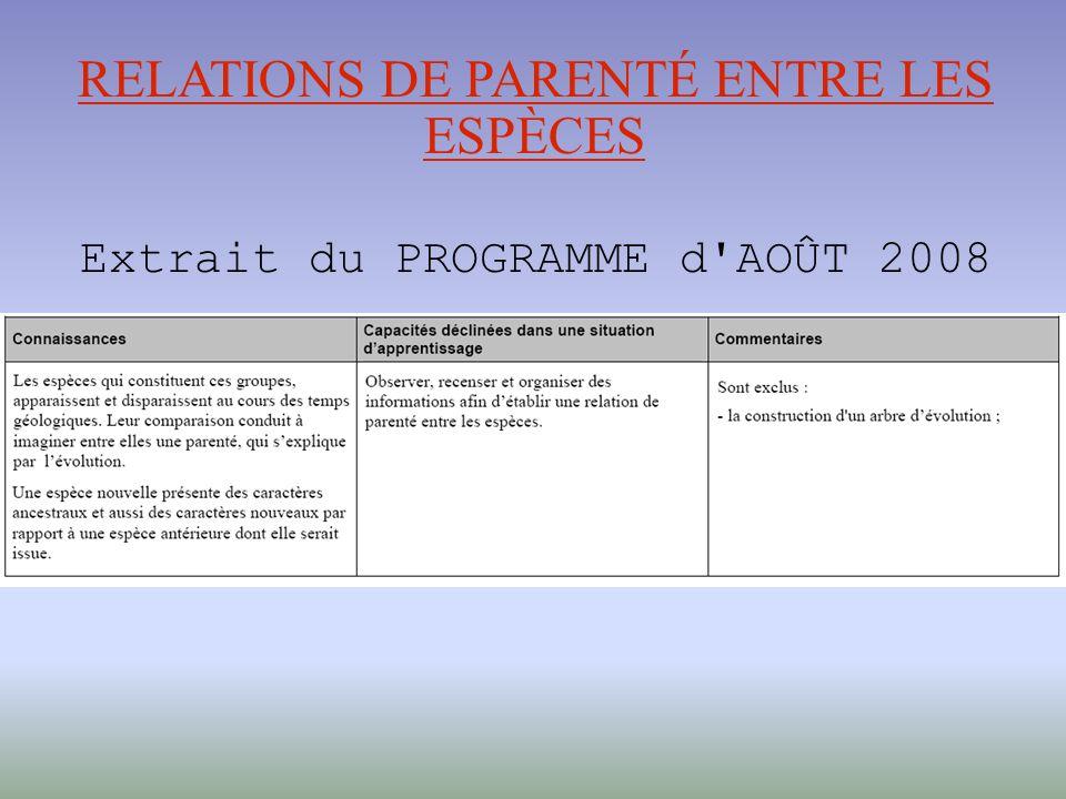 RELATIONS DE PARENTÉ ENTRE LES ESPÈCES Extrait du PROGRAMME d AOÛT 2008