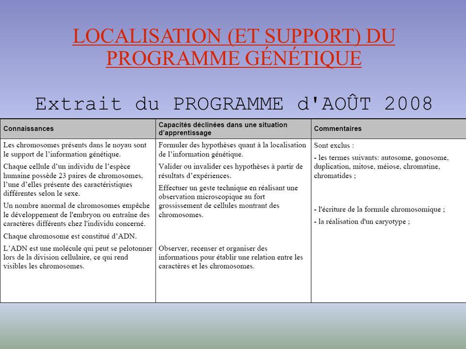LOCALISATION (ET SUPPORT) DU PROGRAMME GÉNÉTIQUE Extrait du PROGRAMME d AOÛT 2008