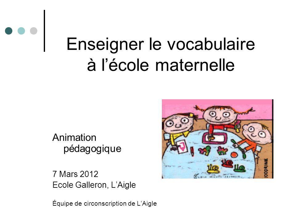 Enseigner le vocabulaire à lécole maternelle Animation pédagogique 7 Mars 2012 Ecole Galleron, LAigle Équipe de circonscription de LAigle