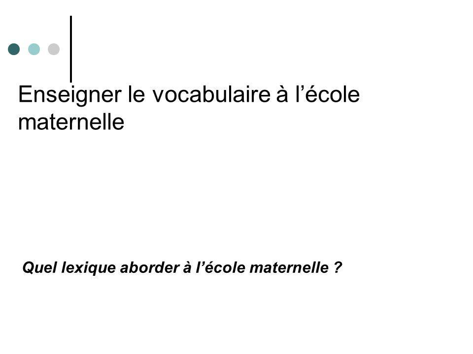 Enseigner le vocabulaire à lécole maternelle Quel lexique aborder à lécole maternelle ?
