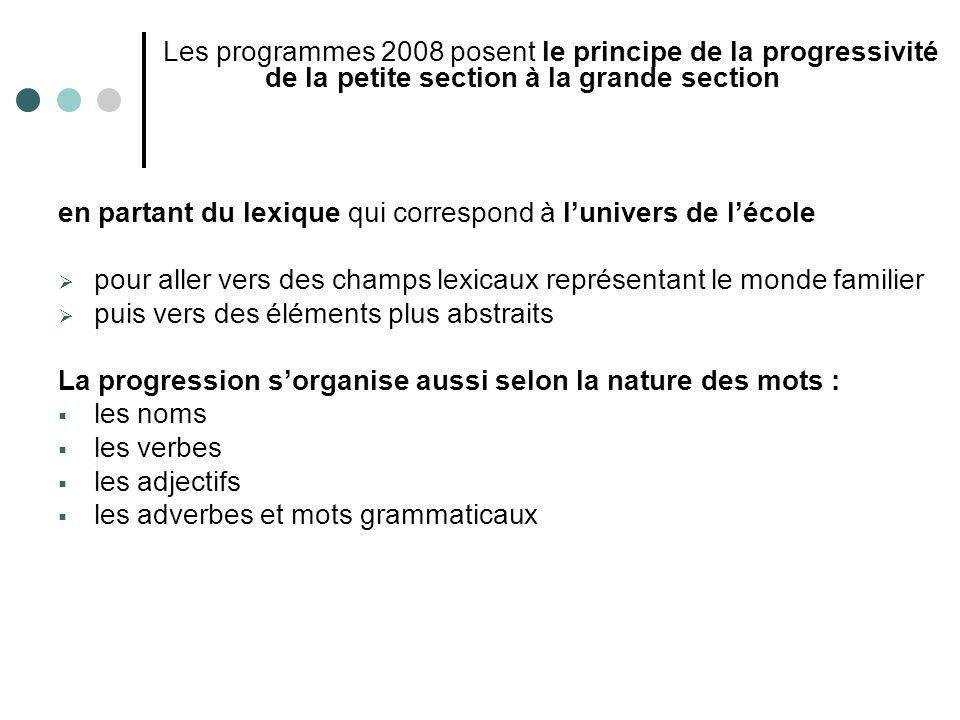 Les programmes 2008 posent le principe de la progressivité de la petite section à la grande section en partant du lexique qui correspond à lunivers de