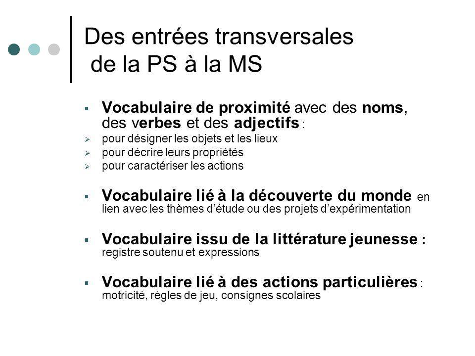 Des entrées transversales de la PS à la MS Vocabulaire de proximité avec des noms, des verbes et des adjectifs : pour désigner les objets et les lieux