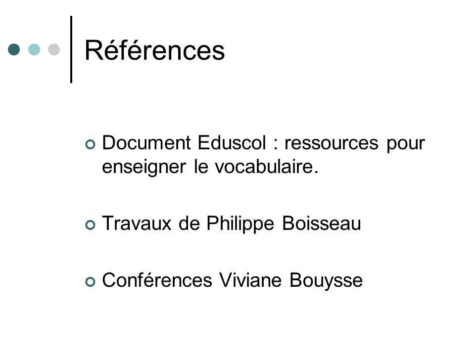 Références Document Eduscol : ressources pour enseigner le vocabulaire. Travaux de Philippe Boisseau Conférences Viviane Bouysse