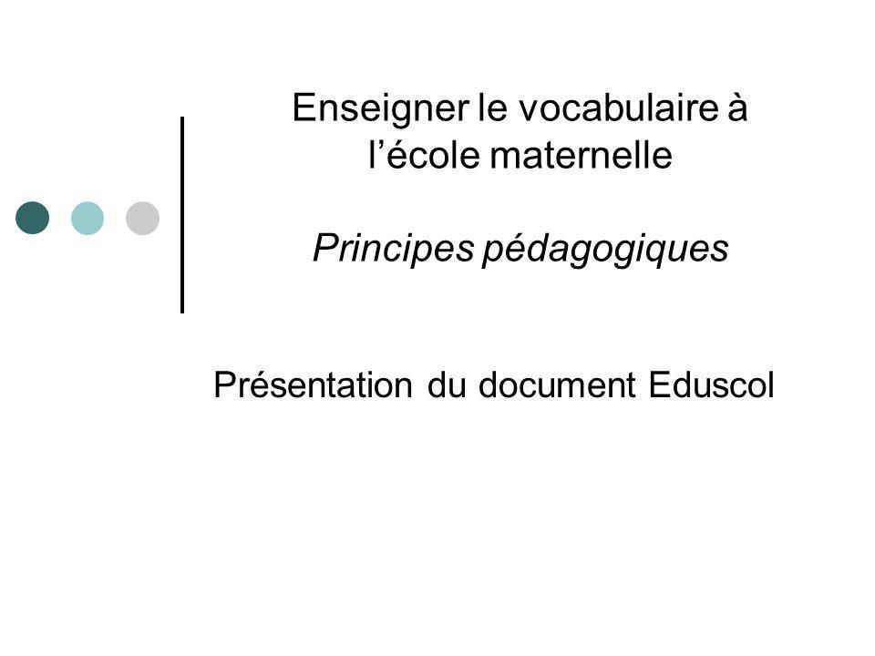 Enseigner le vocabulaire à lécole maternelle Principes pédagogiques Présentation du document Eduscol