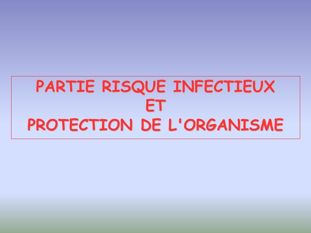 PARTIE RISQUE INFECTIEUX ET PROTECTION DE L ORGANISME