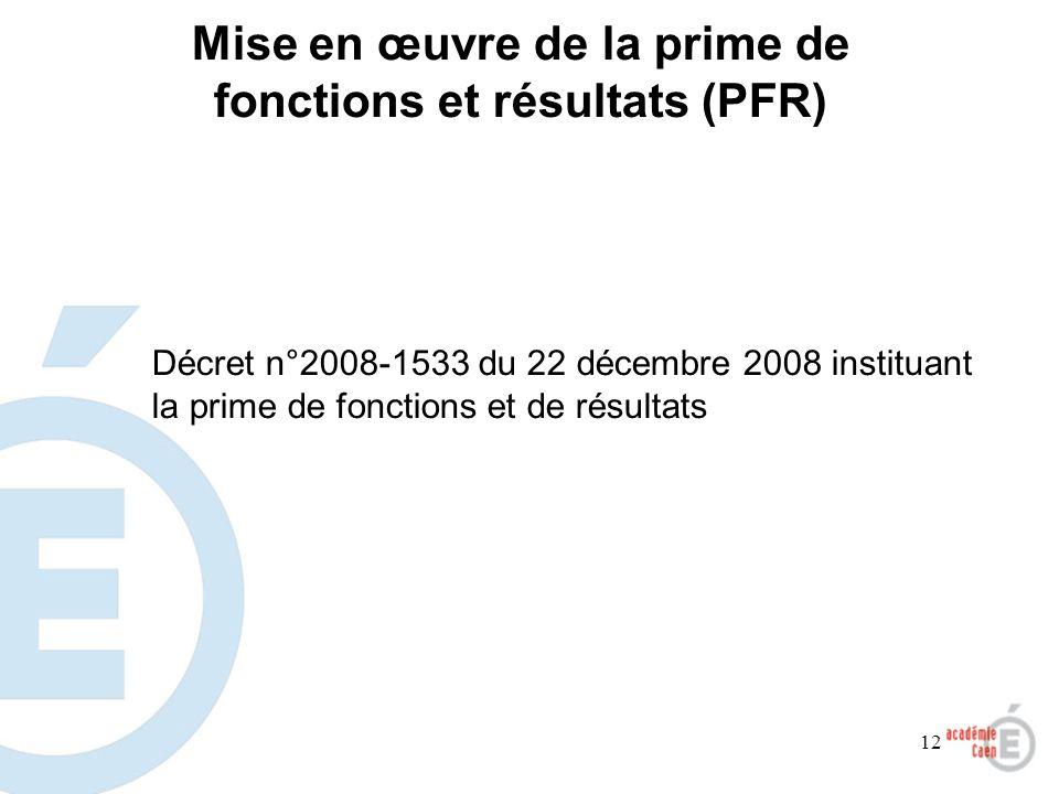 12 Mise en œuvre de la prime de fonctions et résultats (PFR) Décret n°2008-1533 du 22 décembre 2008 instituant la prime de fonctions et de résultats