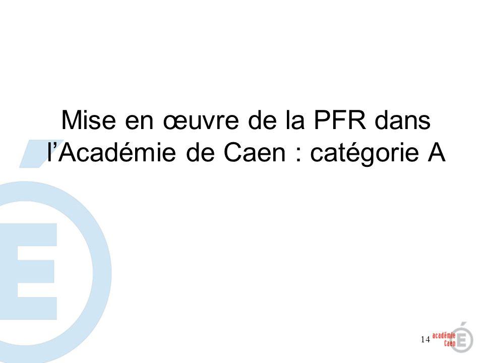 14 Mise en œuvre de la PFR dans lAcadémie de Caen : catégorie A