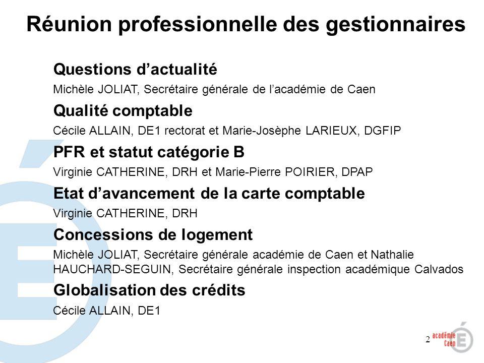 2 Questions dactualité Michèle JOLIAT, Secrétaire générale de lacadémie de Caen Qualité comptable Cécile ALLAIN, DE1 rectorat et Marie-Josèphe LARIEUX