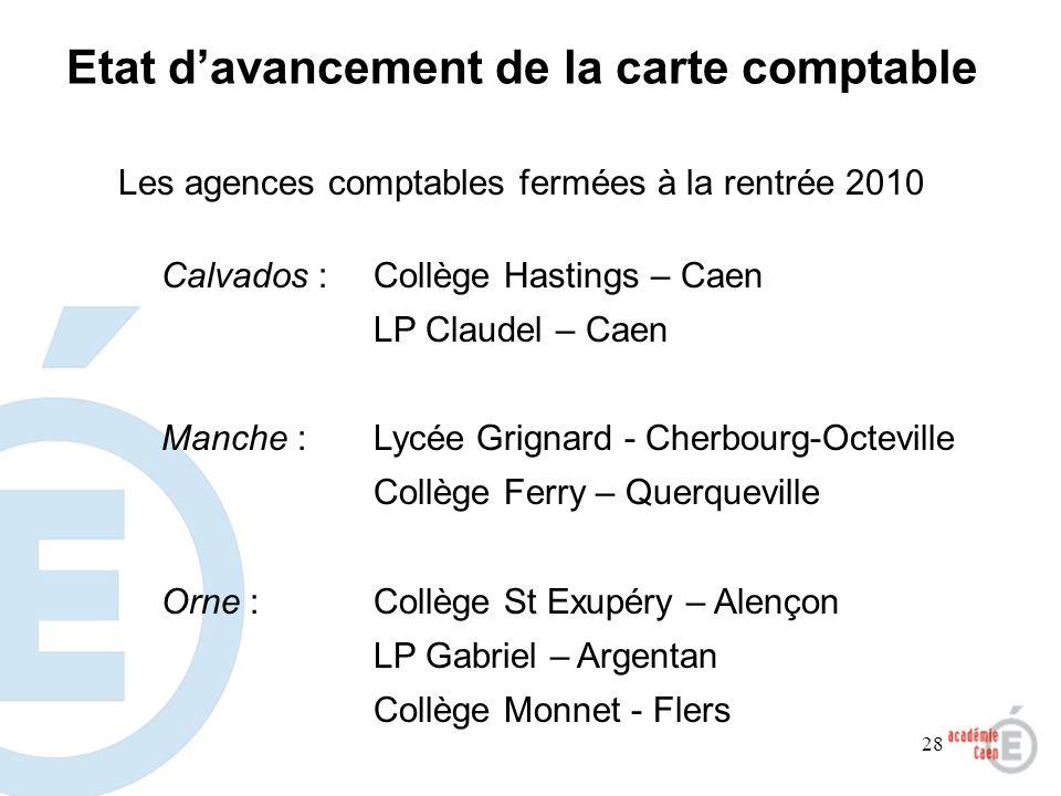 28 Les agences comptables fermées à la rentrée 2010 Calvados :Collège Hastings – Caen LP Claudel – Caen Manche :Lycée Grignard - Cherbourg-Octeville C