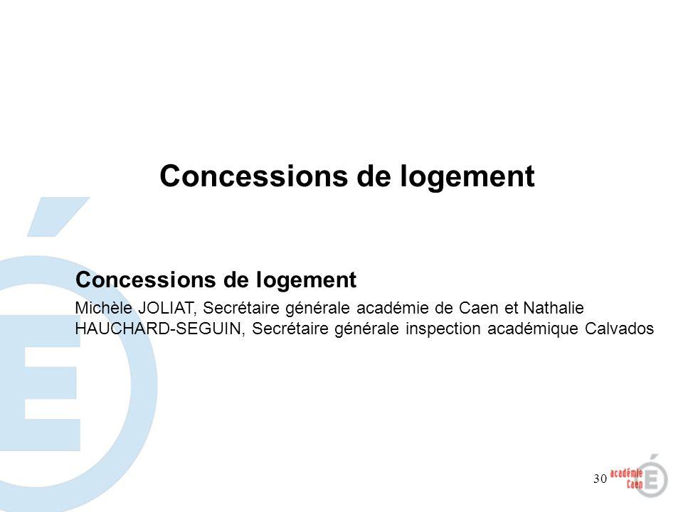 30 Concessions de logement Michèle JOLIAT, Secrétaire générale académie de Caen et Nathalie HAUCHARD-SEGUIN, Secrétaire générale inspection académique