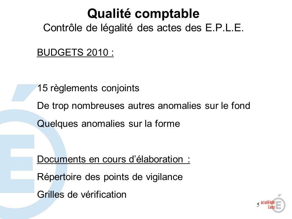 5 Qualité comptable Contrôle de légalité des actes des E.P.L.E. BUDGETS 2010 : 15 règlements conjoints De trop nombreuses autres anomalies sur le fond