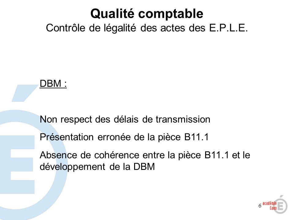 6 Qualité comptable Contrôle de légalité des actes des E.P.L.E. DBM : Non respect des délais de transmission Présentation erronée de la pièce B11.1 Ab