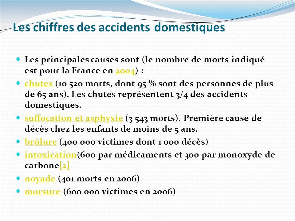 Les chiffres des accidents domestiques Les principales causes sont (le nombre de morts indiqué est pour la France en 2004) :2004 chutes (10 520 morts,