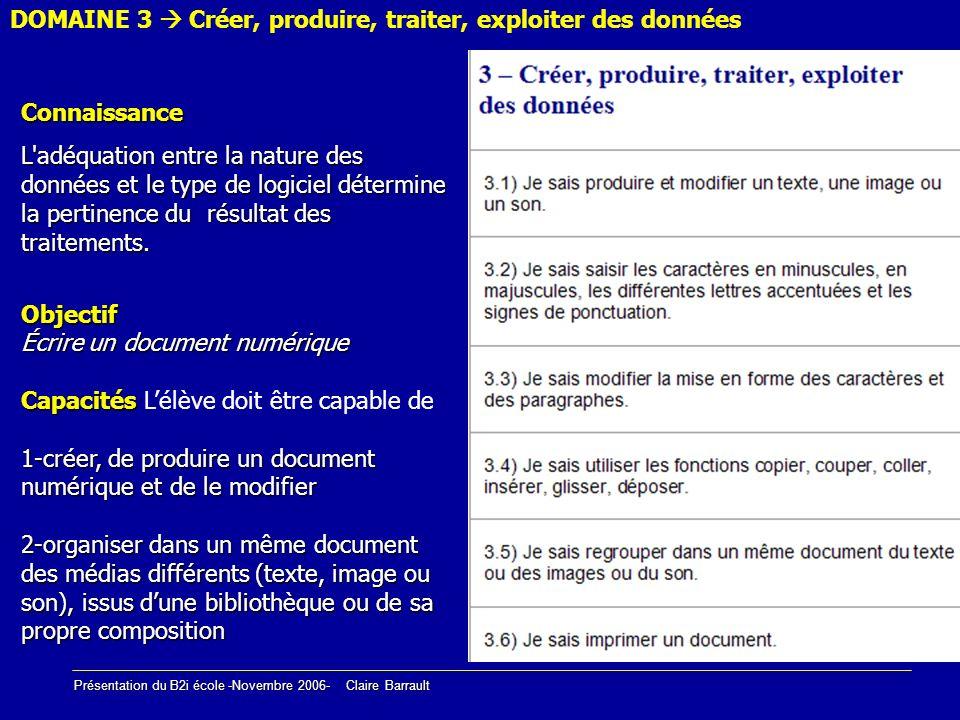 Présentation du B2i école -Novembre 2006- Claire Barrault DOMAINE 3 Créer, produire, traiter, exploiter des donnéesConnaissance L'adéquation entre la