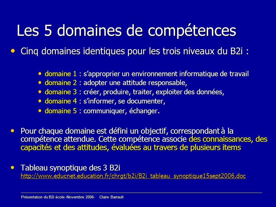 Présentation du B2i école -Novembre 2006- Claire Barrault Les 5 domaines de compétences Cinq domaines identiques pour les trois niveaux du B2i : Cinq