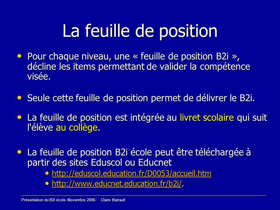 Présentation du B2i école -Novembre 2006- Claire Barrault Le B2i école est acquis lorsque 80% des items sont validés (18/22) 80% des items sont validés (18/22) Au moins la moitié des items de chacun des domaines est validée.
