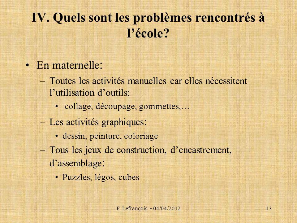 F.Lefrançois - 04/04/201213 IV. Quels sont les problèmes rencontrés à lécole.
